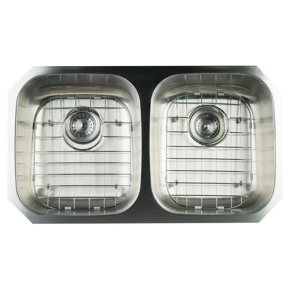 Undermount Stainless Steel 32 in. Double Bowl Kitchen Sink with Grids