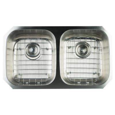 Undermount Stainless Steel 32 in. Double Bowl Kitchen Sink with Grids and Strainer