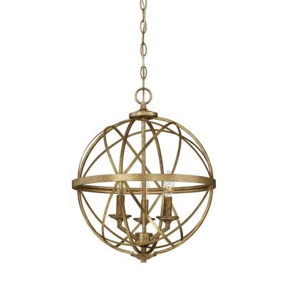 Lakewood Collection 3-Light Vintage Gold Sphere Pendant