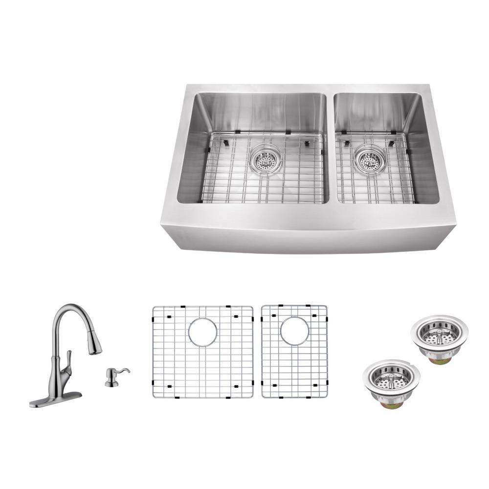 IPT Sink Company Apron Front 36 in. 16-Gauge Stainless Steel Double ...