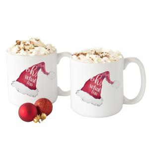 Christmas Coffee Mugs.Oh What Fun Santa Hat 3 9 In X 4 1 In White Ceramic Christmas Coffee Mugs