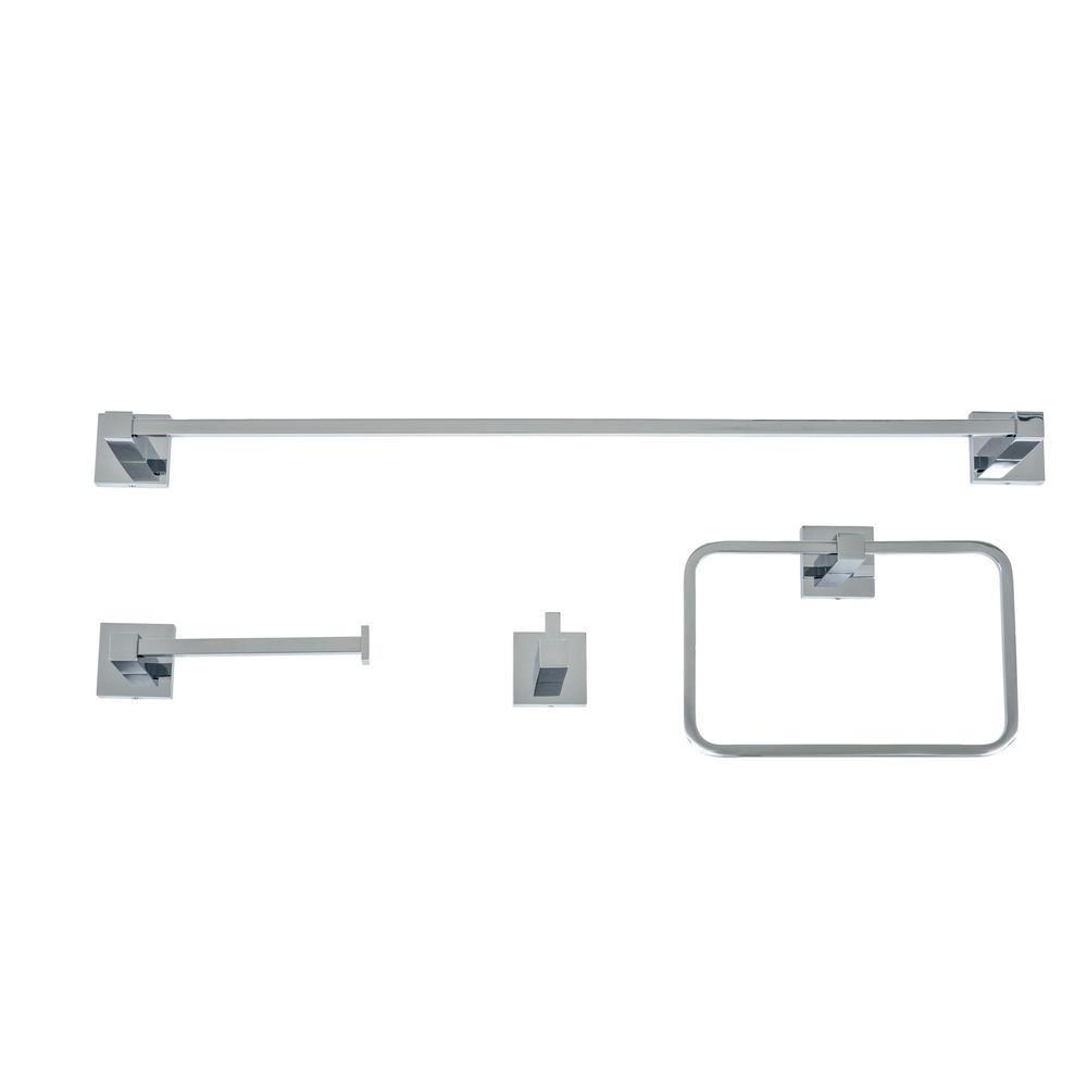 Homeselects essential 4 piece bathroom hardware accessory - Polished chrome bathroom accessories ...