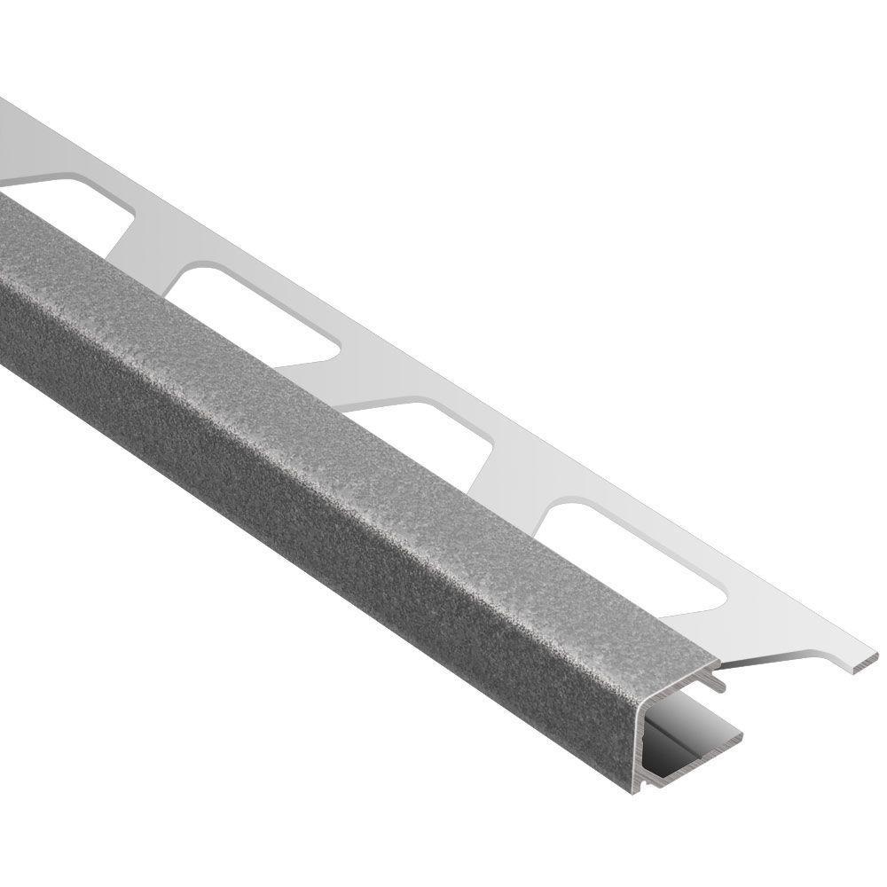 Quadec Pewter Textured Color-Coated Aluminum 5/16 in. x 8 ft. 2-1/2 in. Metal Square Edge Tile Edging Trim