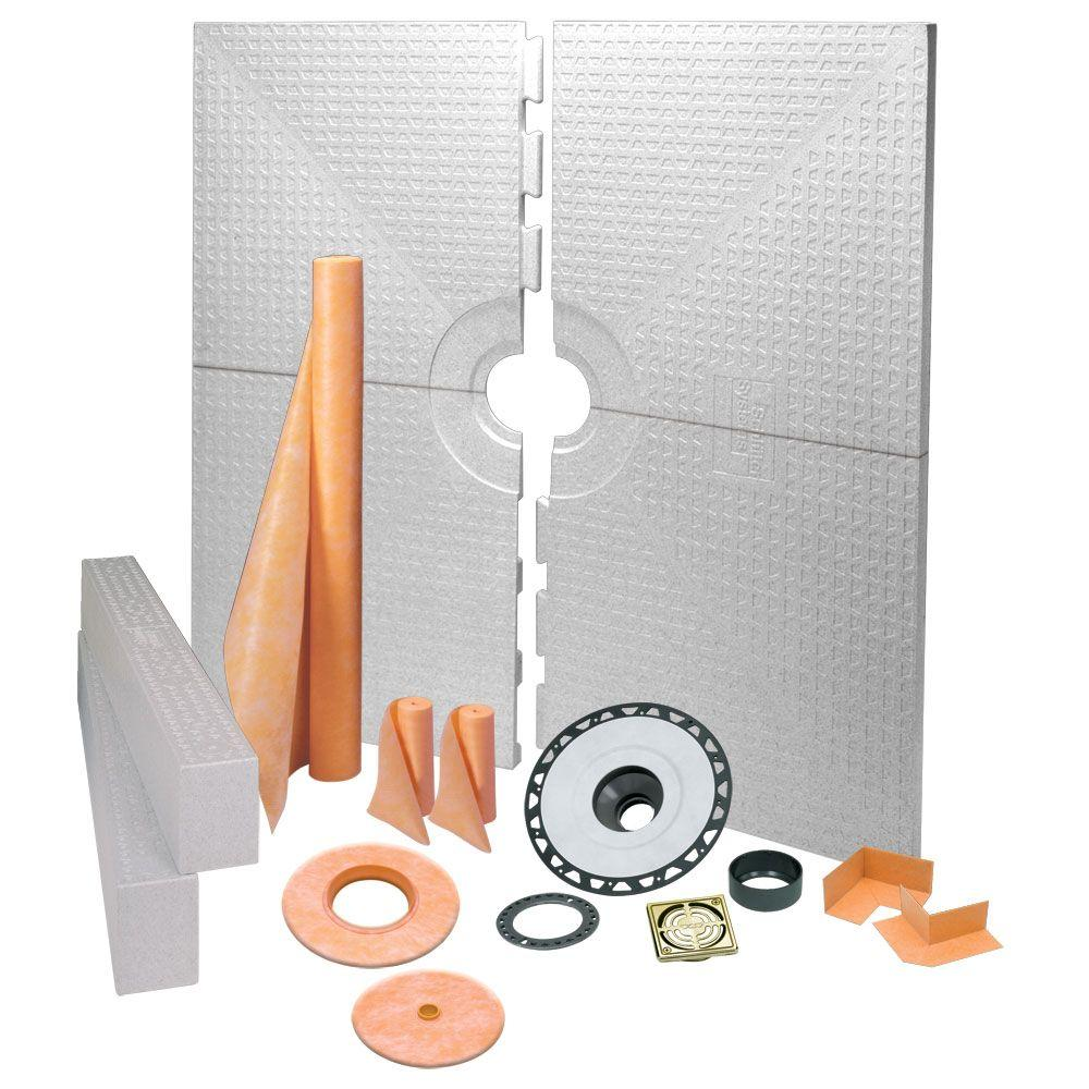 Schluter Kerdi-Shower 72 in. x 72 in. Shower Kit in ABS with Brushed Brass Anodized Aluminum Drain Grate