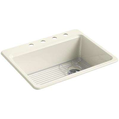 Riverby Drop-In Cast Iron 27 in. 4-Hole Single Bowl Kitchen Sink Kit in Biscuit