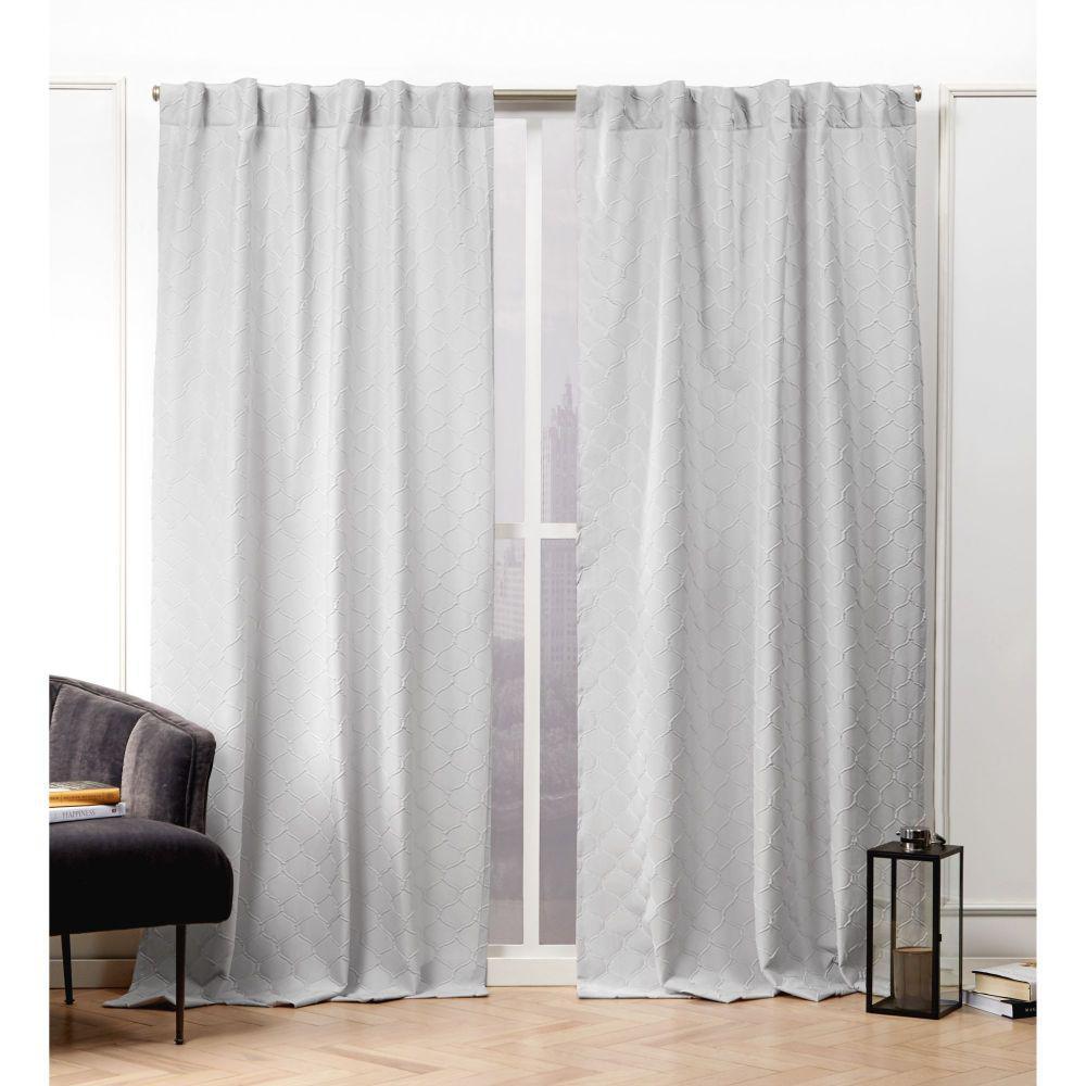 Trellis Matelass Dove Grey  Room Darkening Hidden Tab Top Curtain Panel - 54 in. W x 84 in. L  (2-Panel)