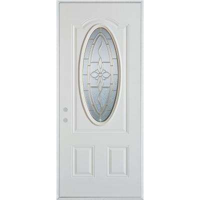 36 in. x 80 in. Traditional Patina 3/4 Oval Lite 2-Panel Prefinished White Right-Hand Inswing Steel Prehung Front Door