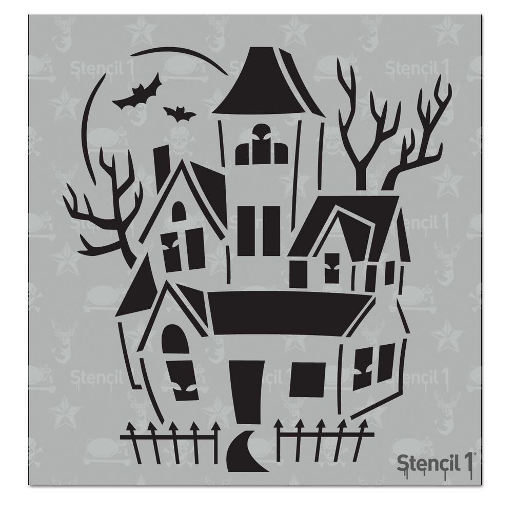 Haunted House Small Stencil