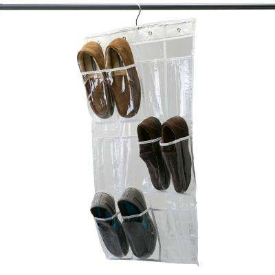 18 in. x 34 in. 12 Pocket Crystal Clear Hanging Shoe Caddy