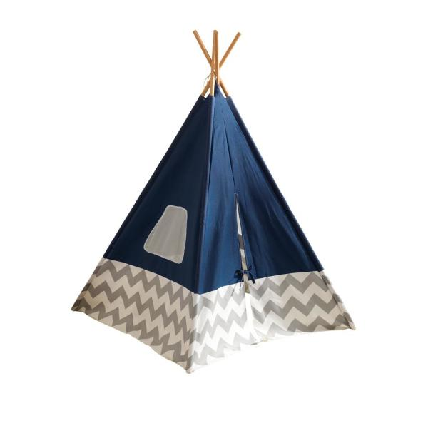Deluxe Play Teepee in Navy and Gray Chevron