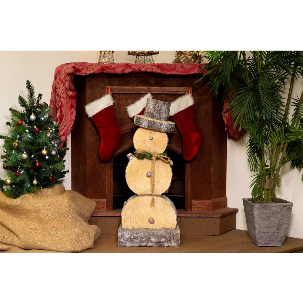 Wooden Snowman Statue