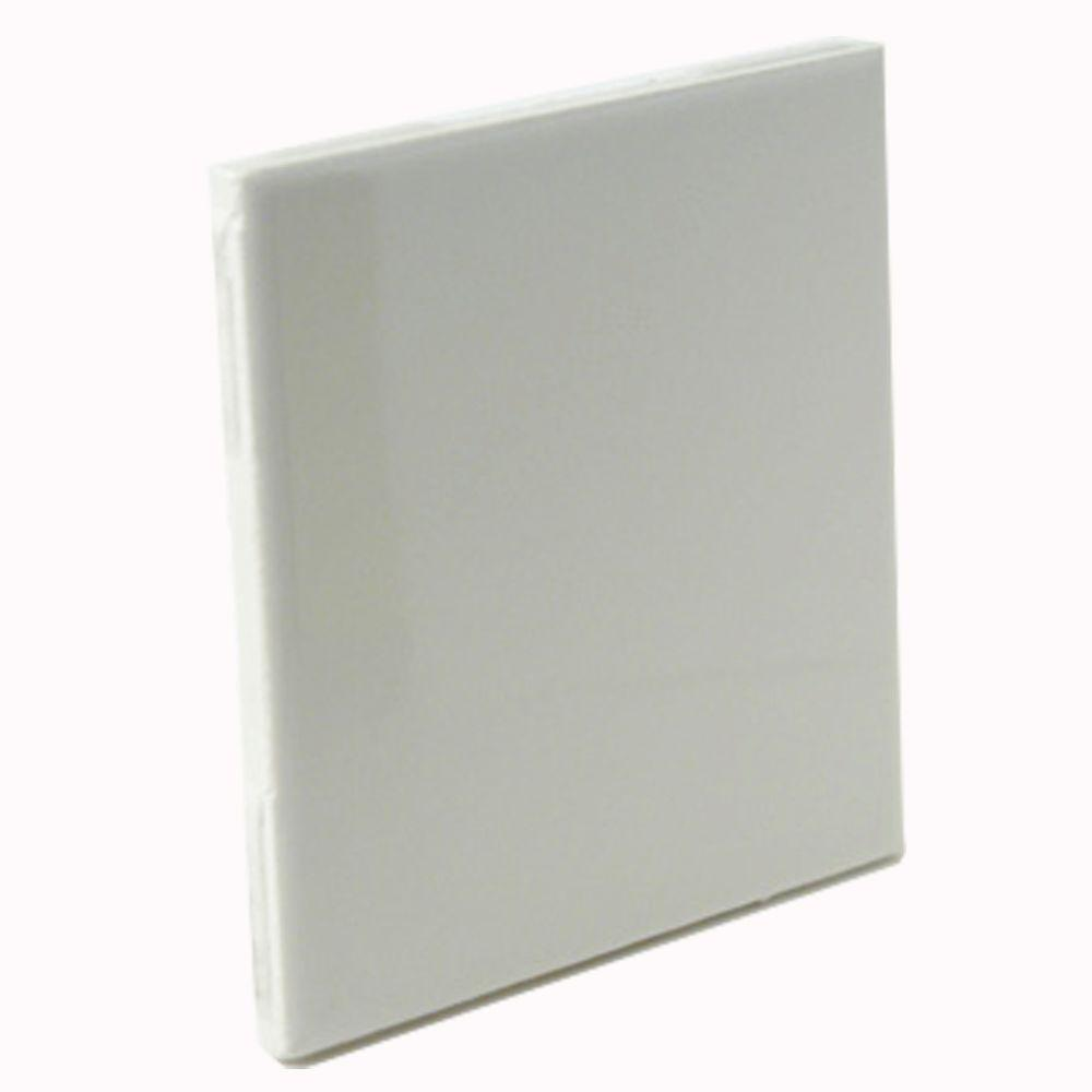 U.S. Ceramic Tile Bright Bone 4-1/4 in. x 4-1/4 in. Bullnose Ceramic Wall Tile-DISCONTINUED