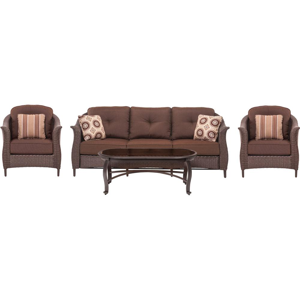 Coral Bay 4-Piece All-Weather Wicker Patio Seating Set with Brown Cushions