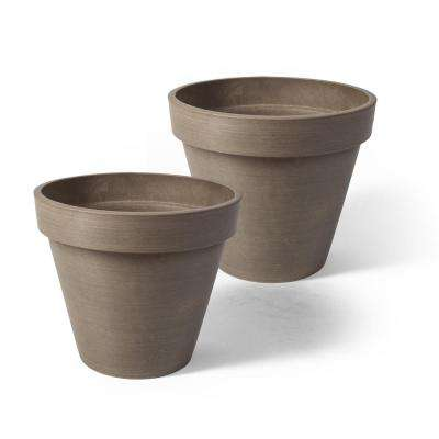 Valencia 8 in. Round Banded Spun Taupe Polystone Planter (2-Pack)