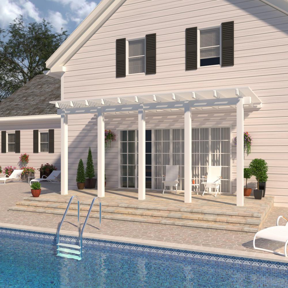 Integra 22 ft. x 10 ft. White Aluminum Attached Open Lattice Pergola with 5 Posts Maximum Roof Load 20 lbs.