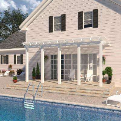 22 ft. x 10 ft. White Aluminum Attached Open Lattice Pergola with 5 Posts Maximum Roof Load 20 lbs.