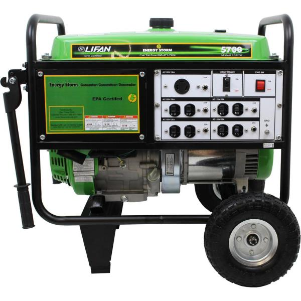 LIFAN Energy Storm 5,700/5,000-Watt Gasoline Powered Portable Generator