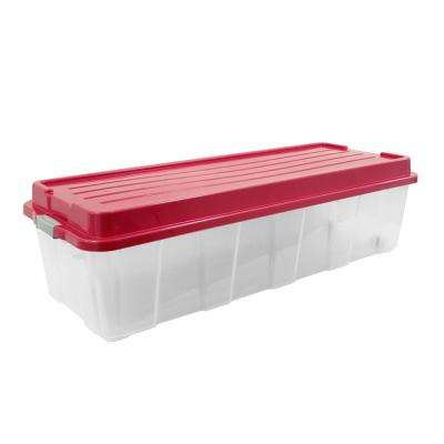 65 Gal. Holiday Tree Storage Tote in Clear Base and Red Cover