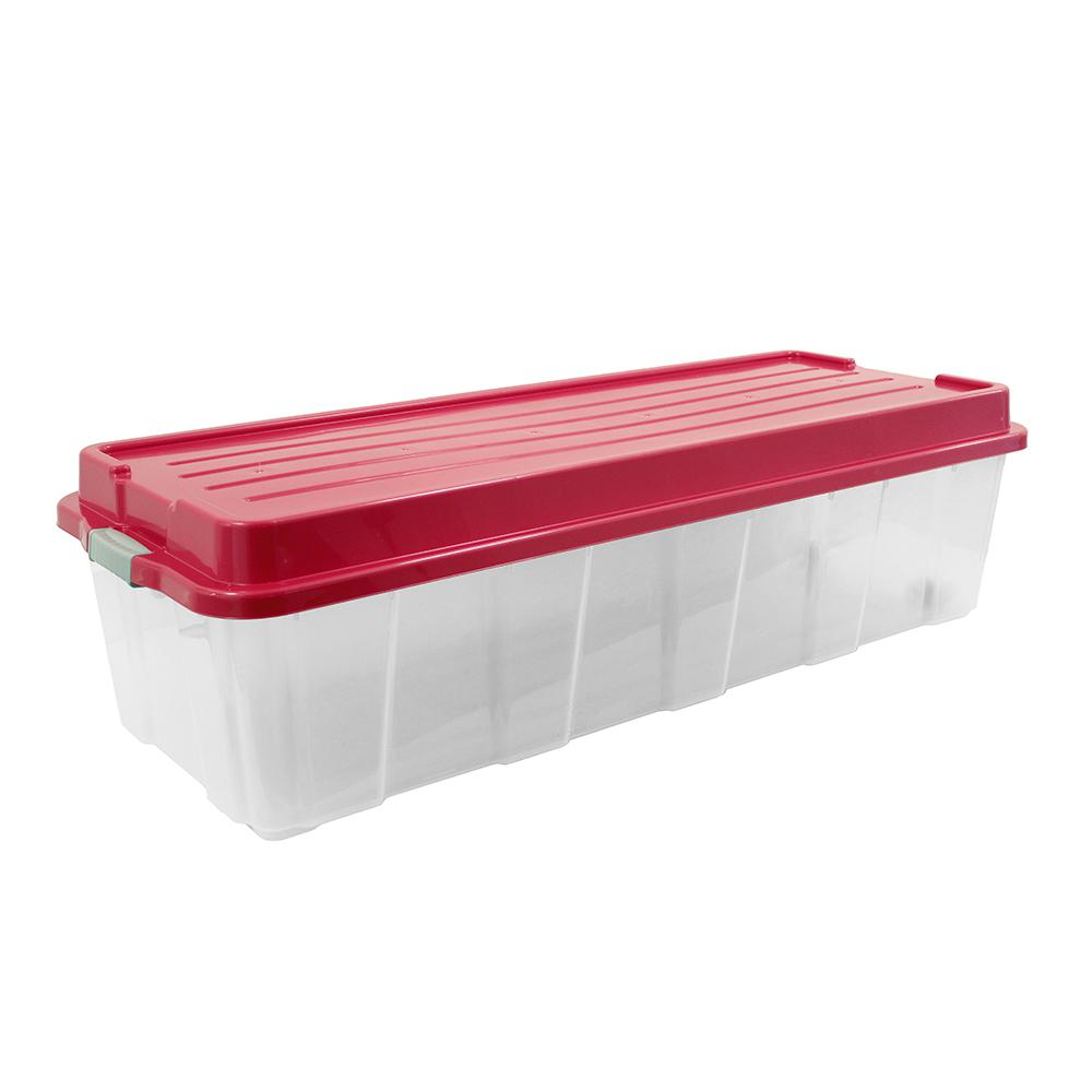Organize it 65 Gal Holiday Tree Storage Tote in Clear Base and Red