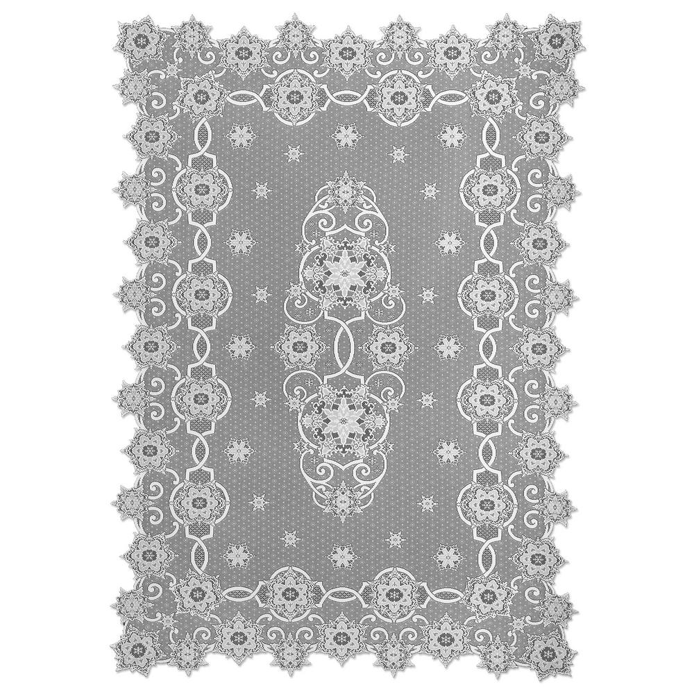 Heritage Lace Snowflake White Polyester Tablecloth