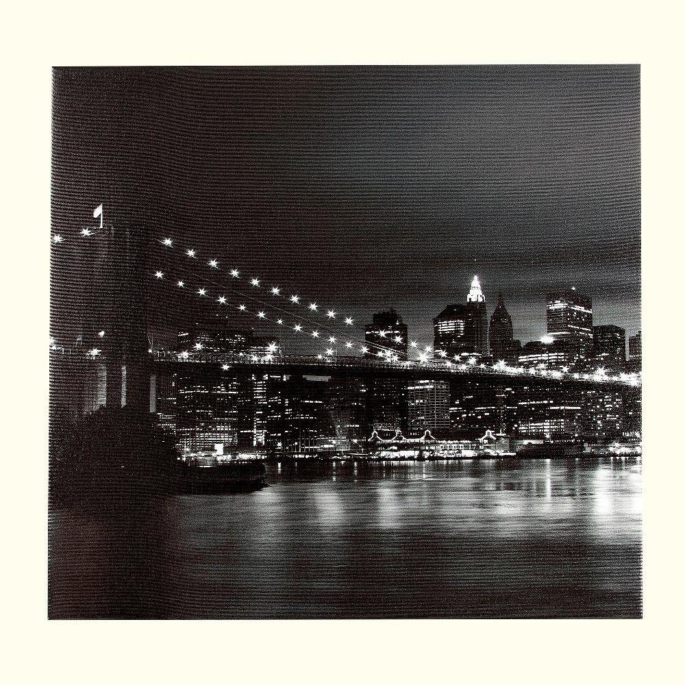 Onsia 24 in. x 24 in. City Bridge Museum Wall Art with Wrap Speaker