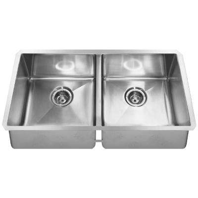 Undermount Stainless Steel 35.in 0 hole Double Bowl Kitchen Sink