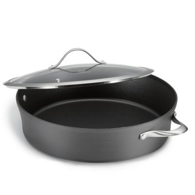 Contemporary 7 qt. Aluminum Nonstick Saute Pan in Black with Glass Lid