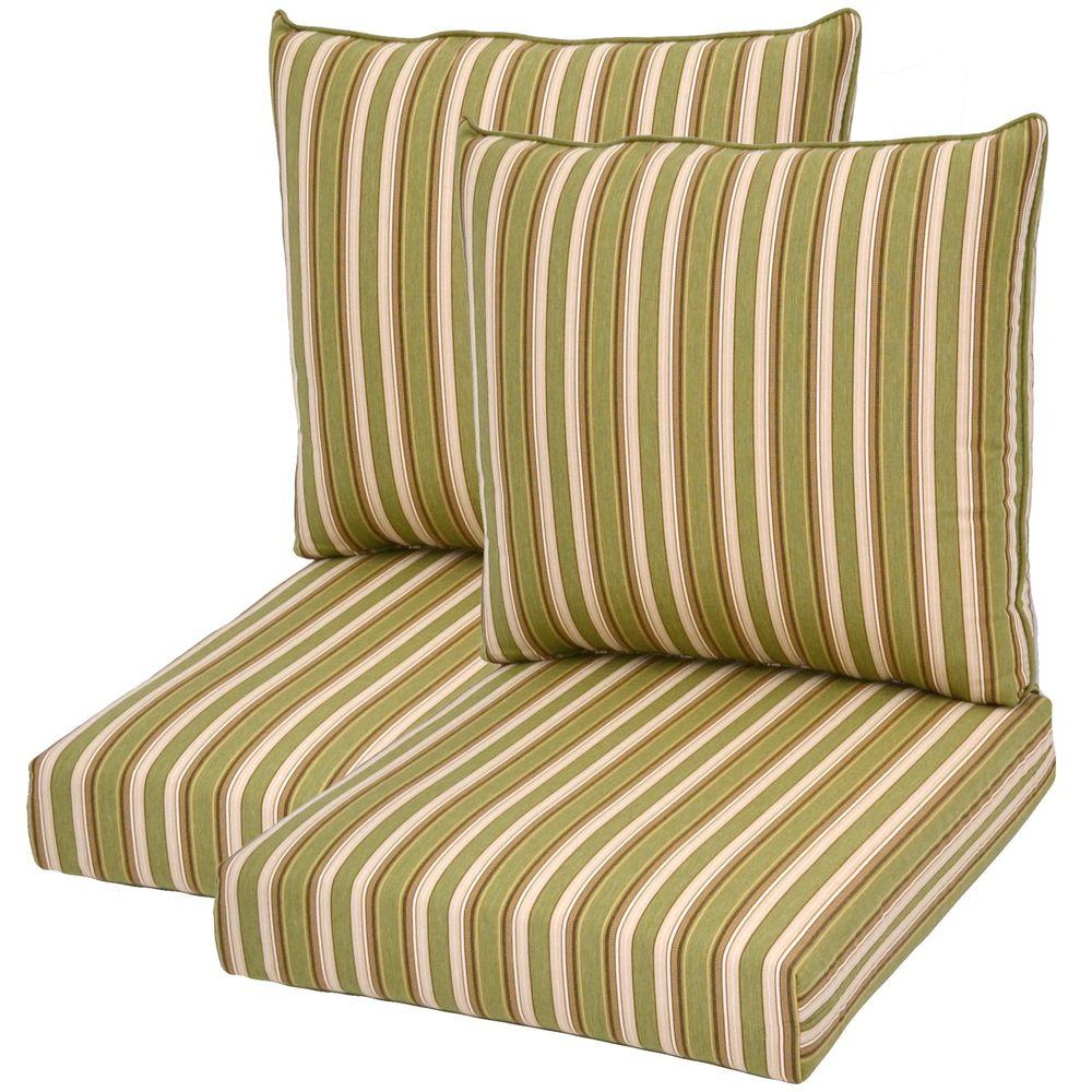 Plantation Patterns Green Stripe Pillow Back Outdoor Deep Seating Cushion-DISCONTINUED