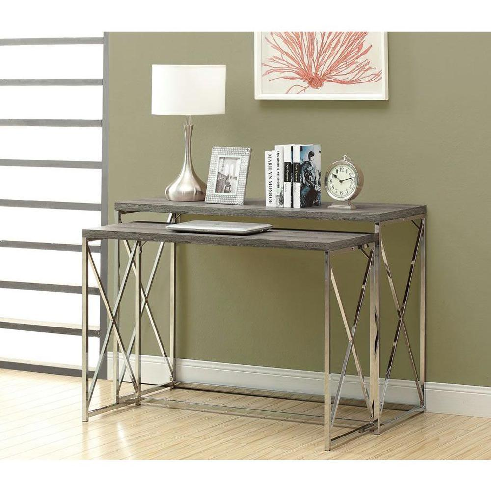 Ordinaire Monarch Specialties Dark Taupe 2 Piece Nesting Console Table