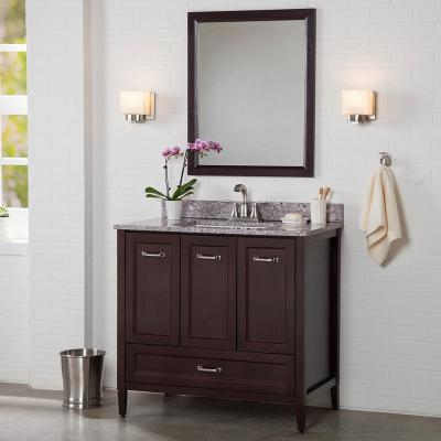 Claxby 37 in. W x 22 in. D Bathroom Vanity in Chocolate with Stone Effect Vanity Top in Mineral Gray with White Sink