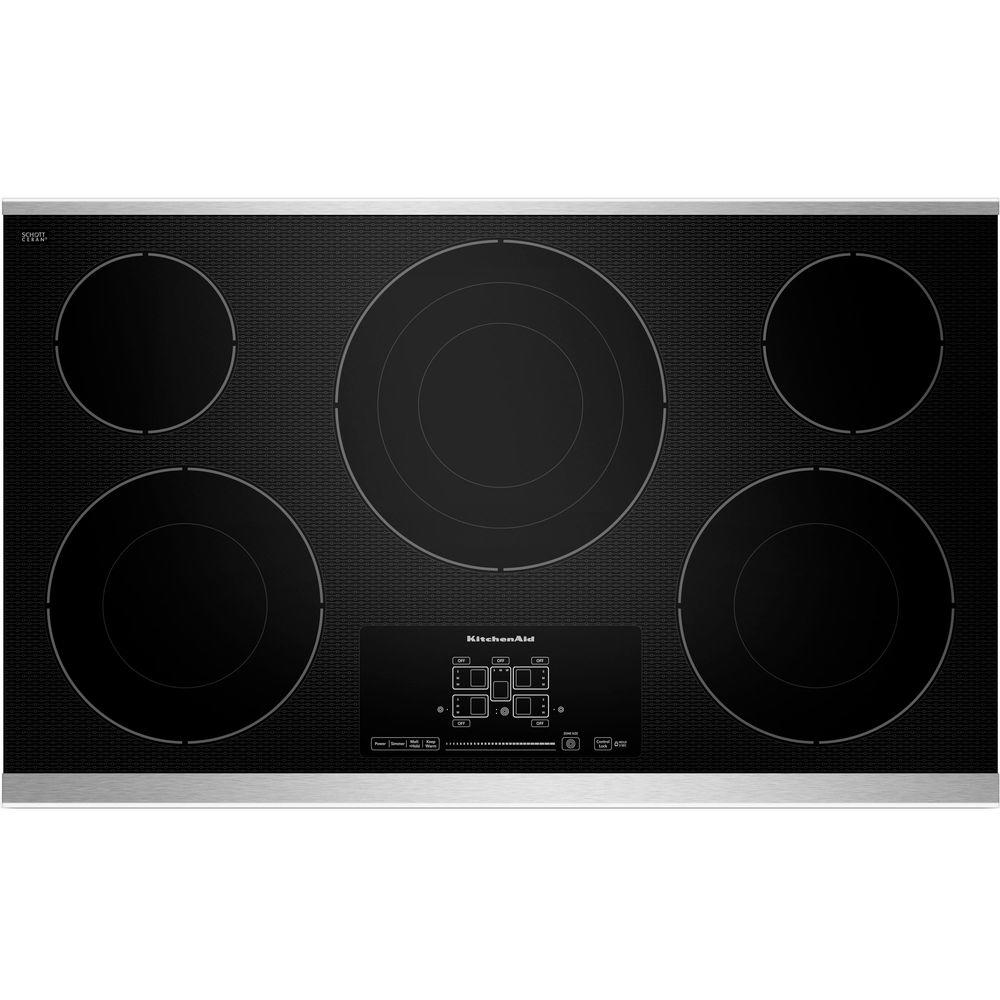 KitchenAid 36 In. Radiant Ceramic Glass Electric Cooktop, Stainless Steel  W/ 5 Elements
