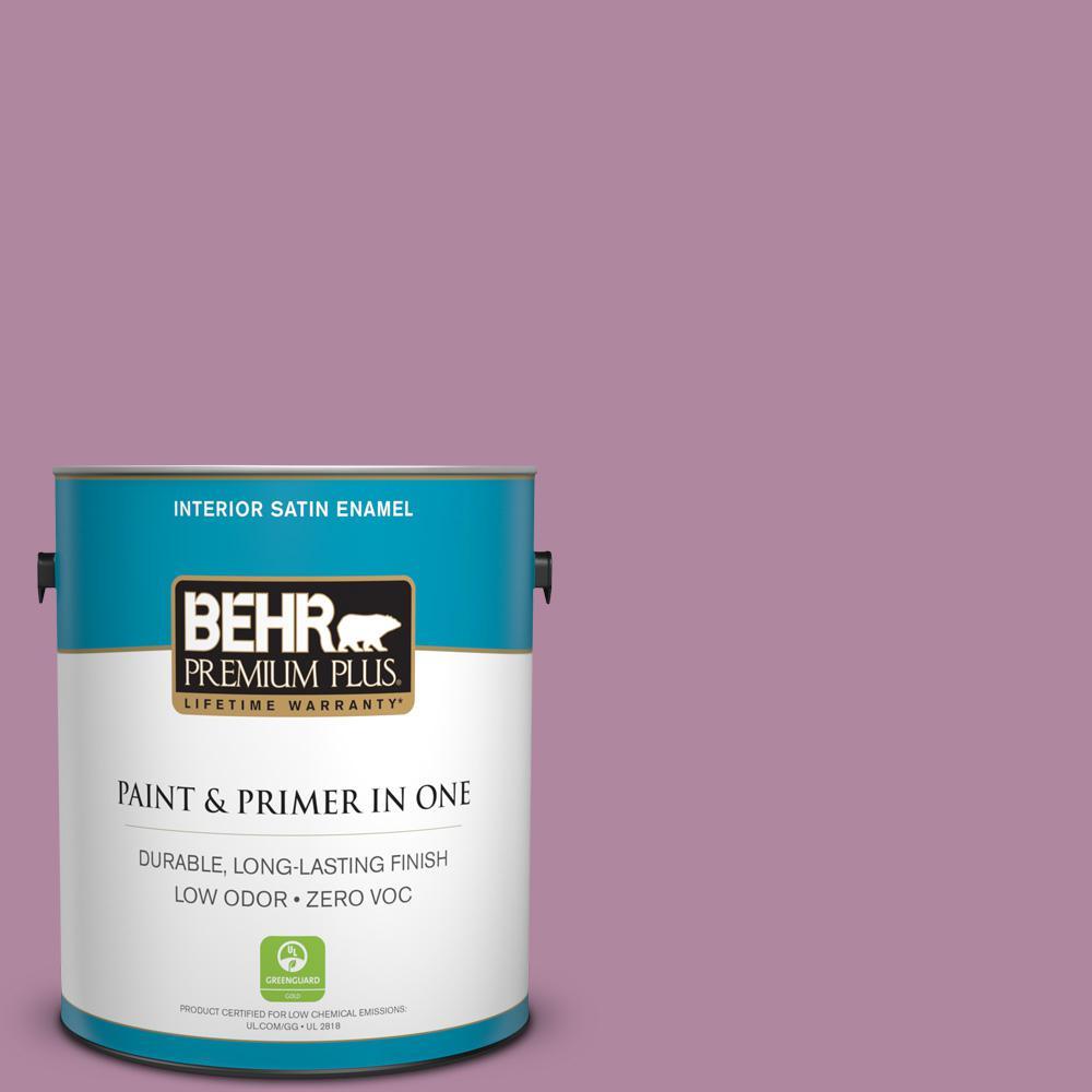 BEHR Premium Plus 1-gal. #690D-5 Winsome Rose Zero VOC Satin Enamel Interior Paint