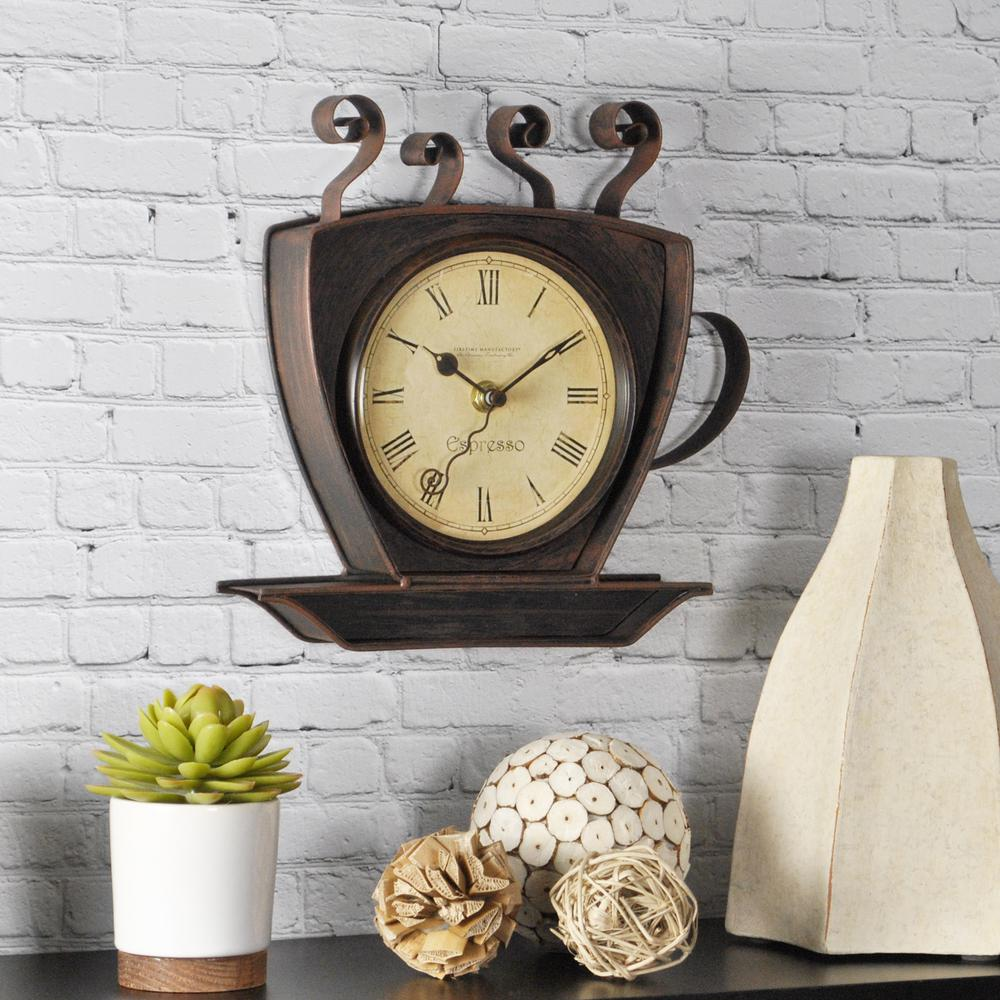 Superieur Bronze Square Coffee Cup Wall Clock
