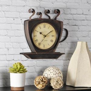 Click here to buy FirsTime 9 inch x 9 inch Bronze Square Coffee Cup Wall Clock by FirsTime.