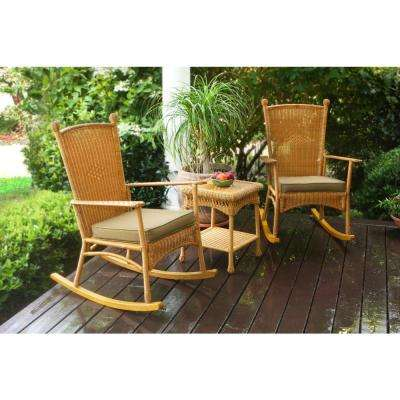 Portside 3-Piece Amber Wicker Outdoor Classic Rocker Set with Tan Cushions