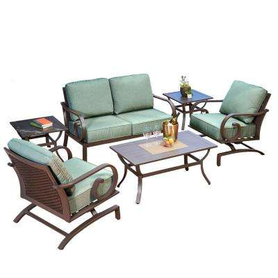 Milano 6-Piece Metal Patio Deep Seating Set with Teal Cushions