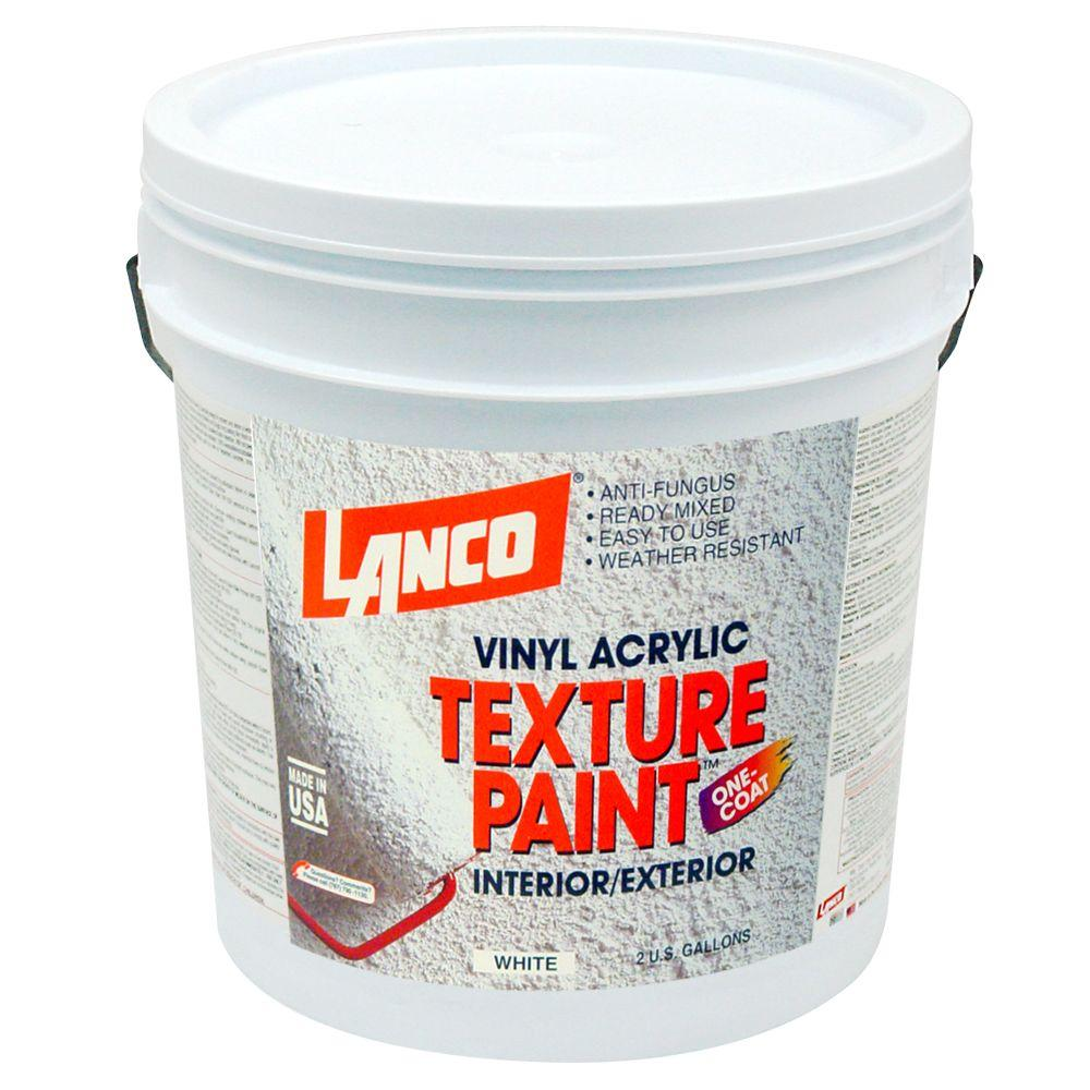 Lanco 1 gal vinyl acrylic white interior exterior texture paint st600 4 the home depot for Home depot 600 exterior street