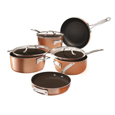 Cast-Texture Coating 8 Piece Non-Stick Space Saving Stackmaster Cookware Set with Glass Lids
