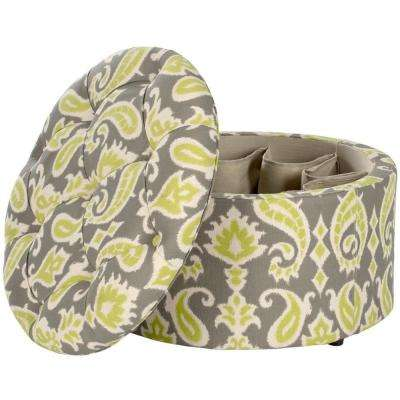 Tanisha Grass Green and Grey Storage Ottoman