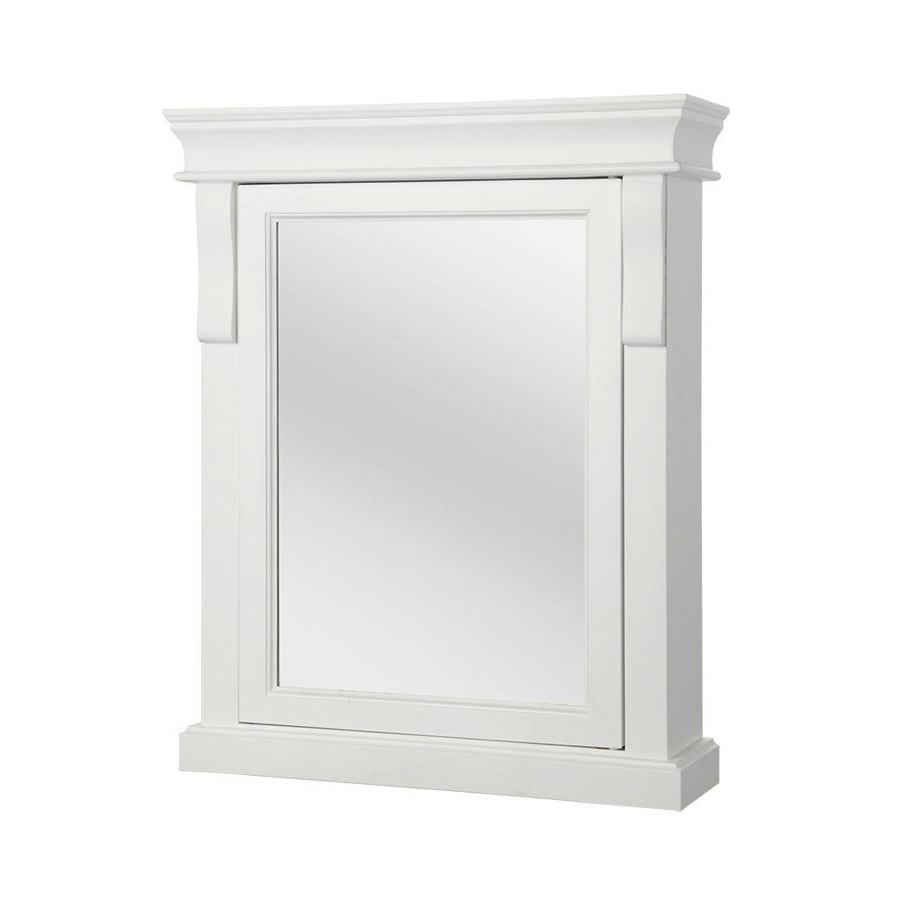 Home Decorators Collection Naples 25 In W X 31 In H X 8 In D Framed Surface Mount Bathroom Medicine Cabinet In White Nawc2531 The Home Depot