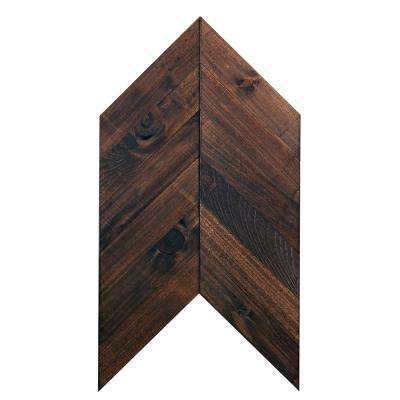 Moroccan Walnut 1/4 in. x 12 in. x 23 in. Pine Solid Hardwood Weathered Chevron Wall Plank
