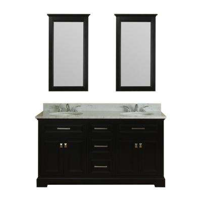 Yorkshire 61 in. W x 22 in. D Vanity in Espresso with Marble Vanity Top in White with White Basin and Mirror