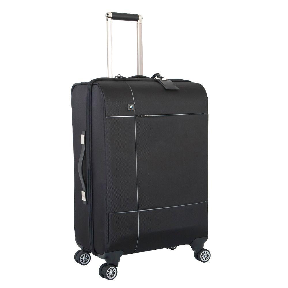 24.5 in. Black Split Case Spinner Suitcase