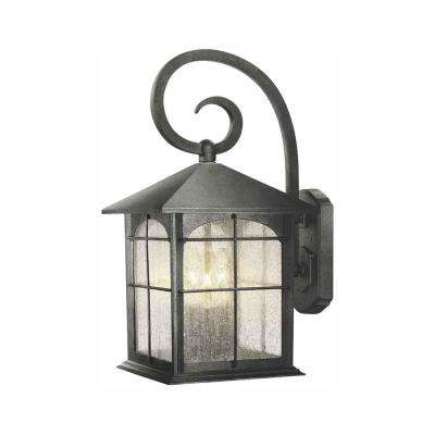 Brimfield 3-Light Aged Iron Outdoor Wall Lantern Sconce