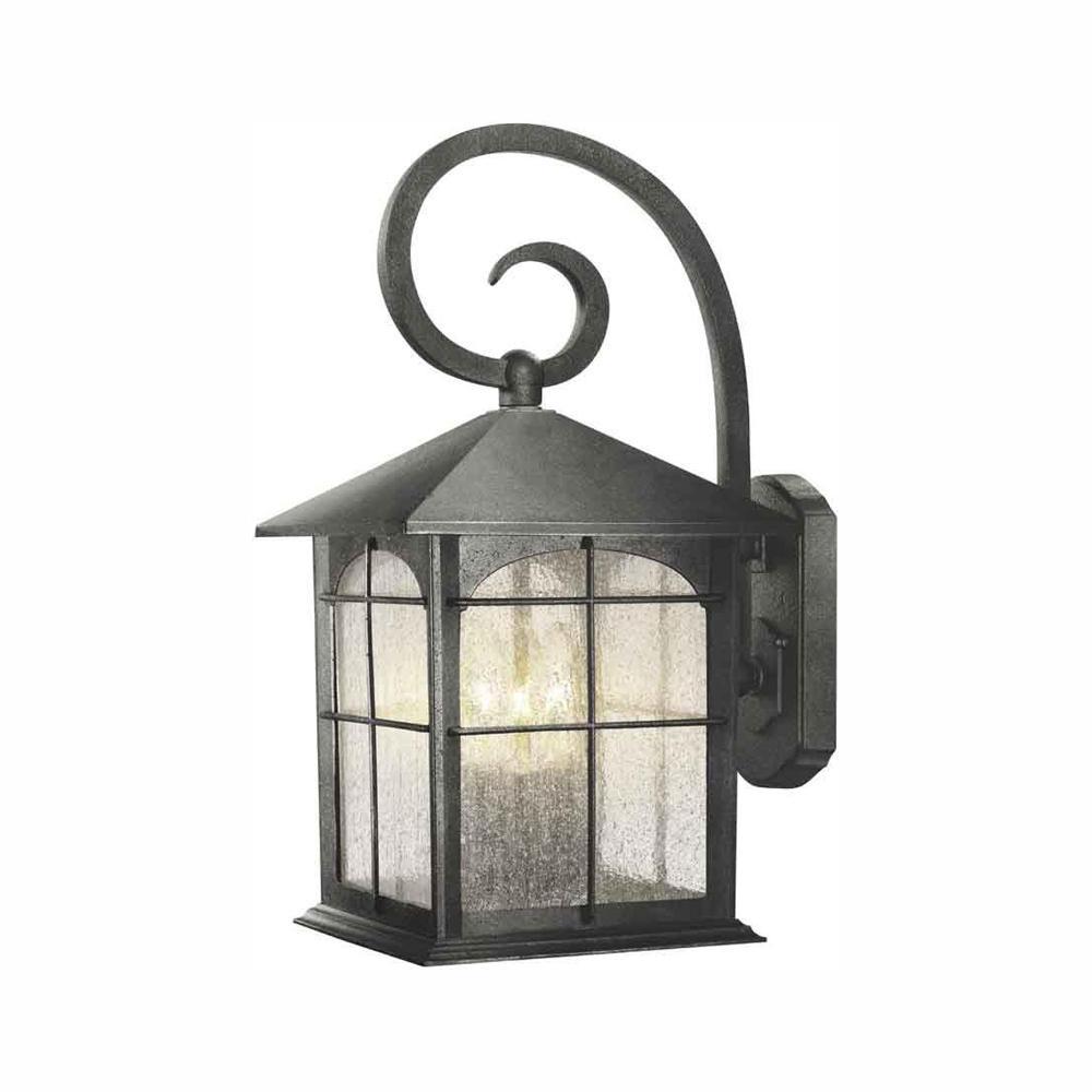 Brimfield 3-Light Aged Iron Outdoor Wall Lantern Sconce