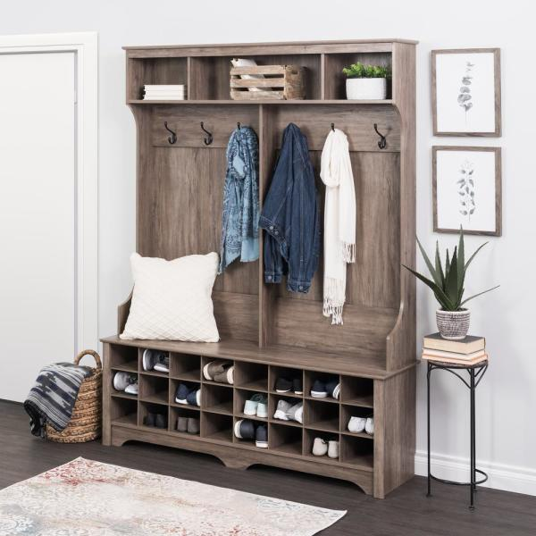 """60"""" Wide Hall Tree with 24 Shoe Cubbies Drifted Gray - Prepac"""