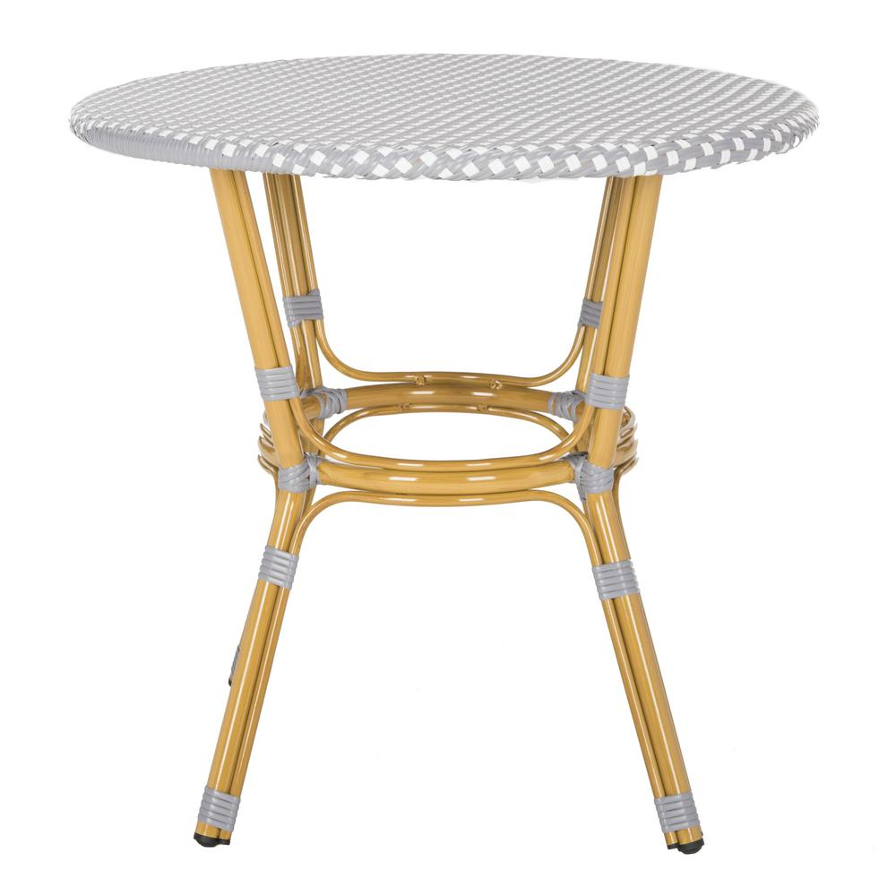 Safavieh Sidford Grey And White Wicker Outdoor Side Table