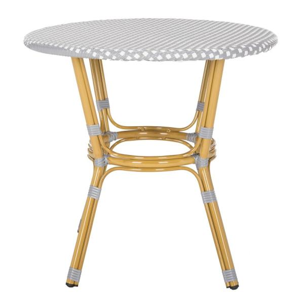 Sidford Grey/White Round Wicker Outdoor Side Table
