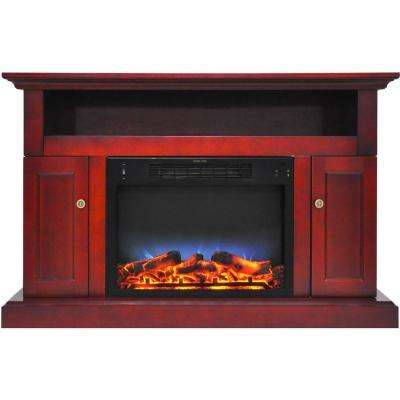 Sorrento Electric Fireplace with Multi-Color LED insert and 47 in. Entertainment Stand in Cherry
