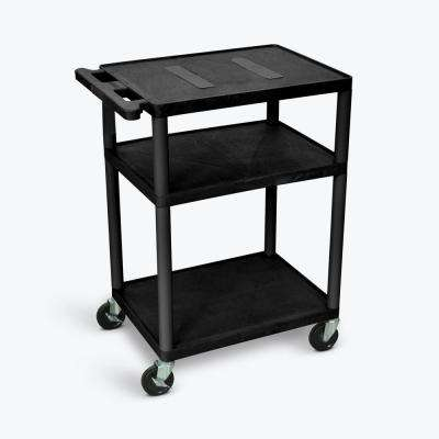 24 in. W x 18 in. D x 35.25 in. H 3 Flat Shelf A/V Cart, Black